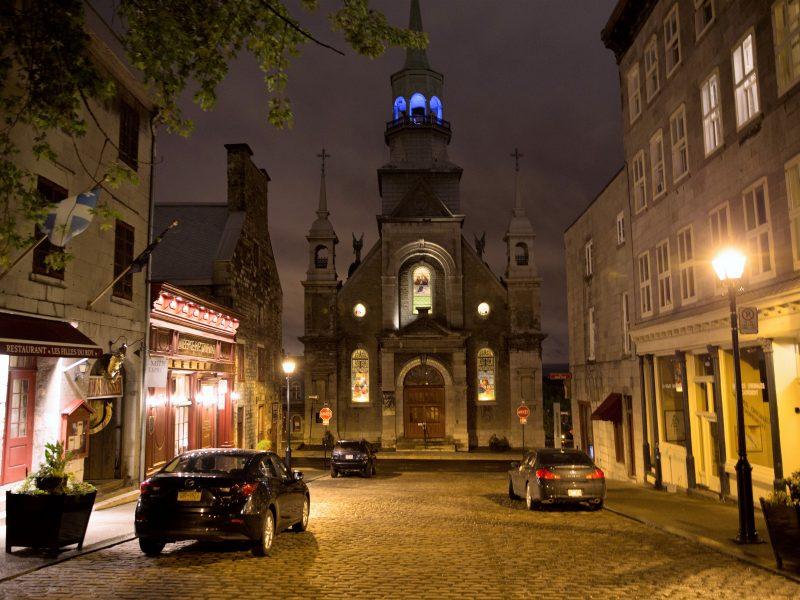 Montreal street at night