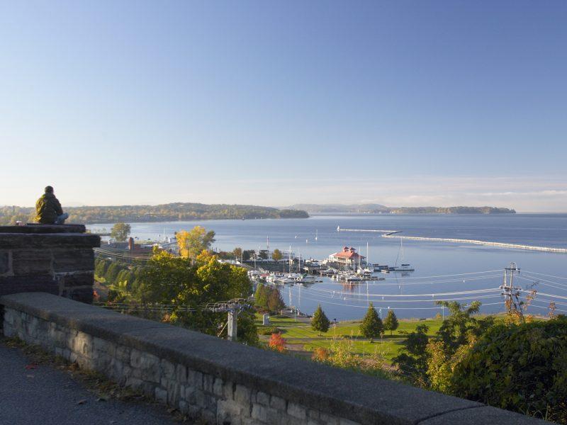 Landscape shot of Burlington by Lake Champlain