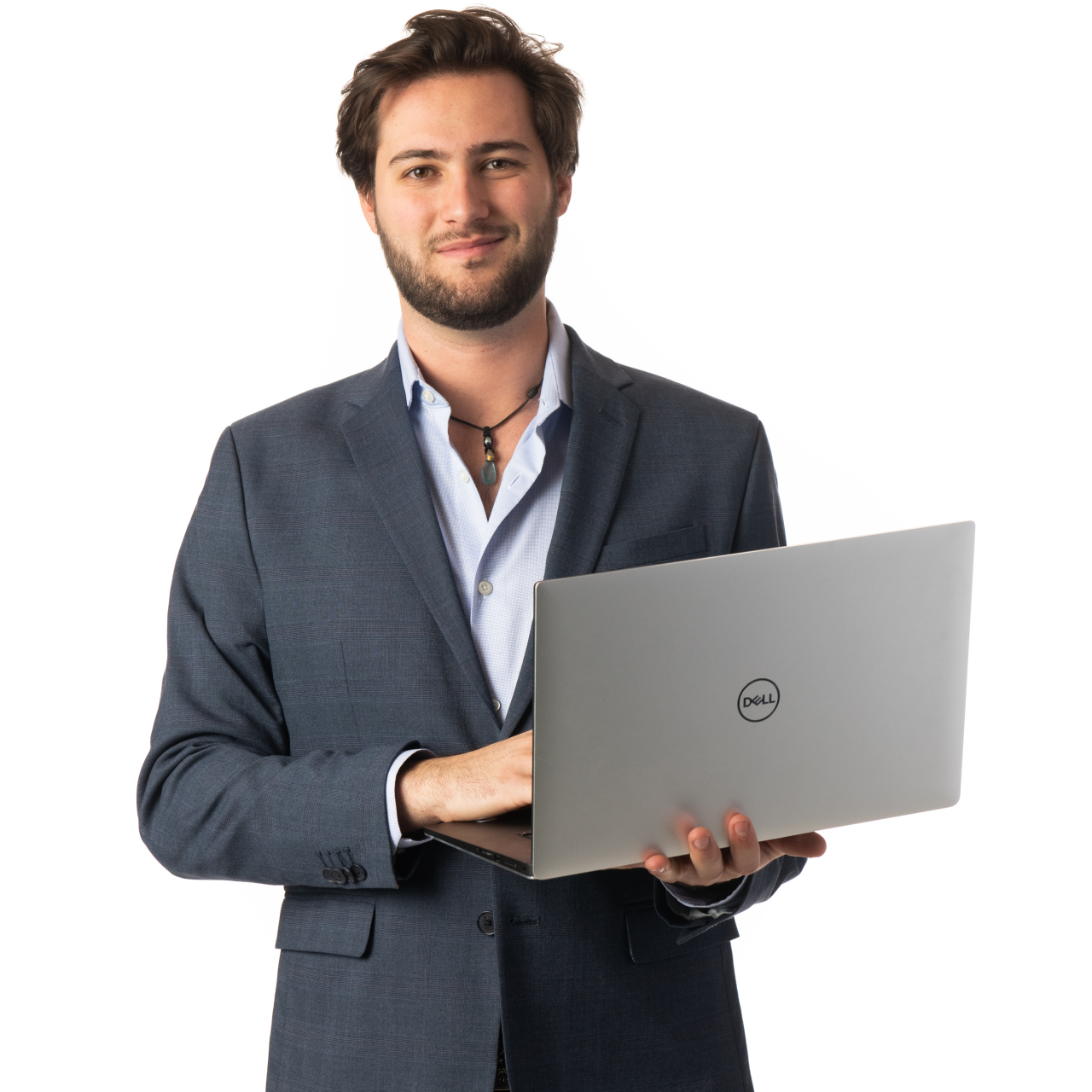 Headshot picture of a Game Programming student holding a laptop