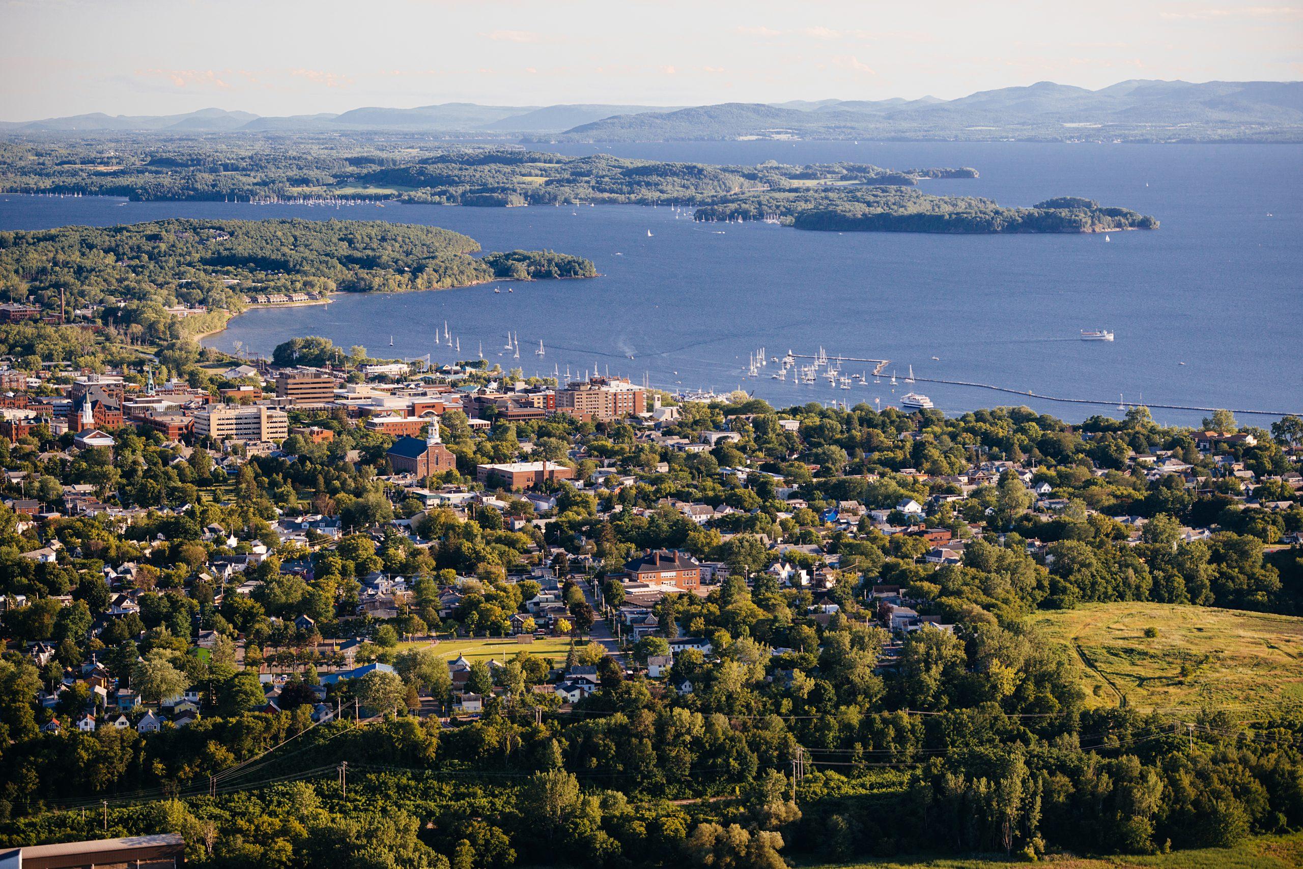 Aerial shot of Burlington, Vermont