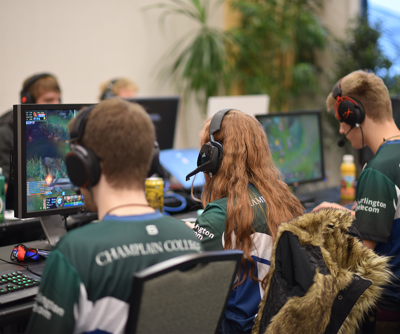 Team of students playing Esports games