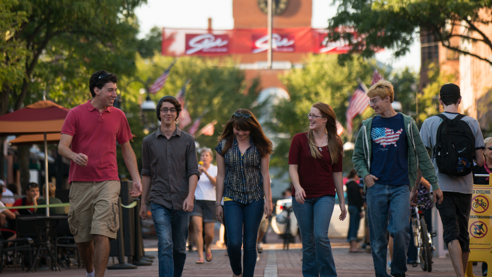 Students walking down Church Street in Burlington