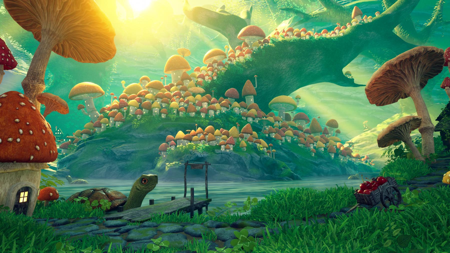 Bright, fantastical, lush world full of building sized mushrooms.