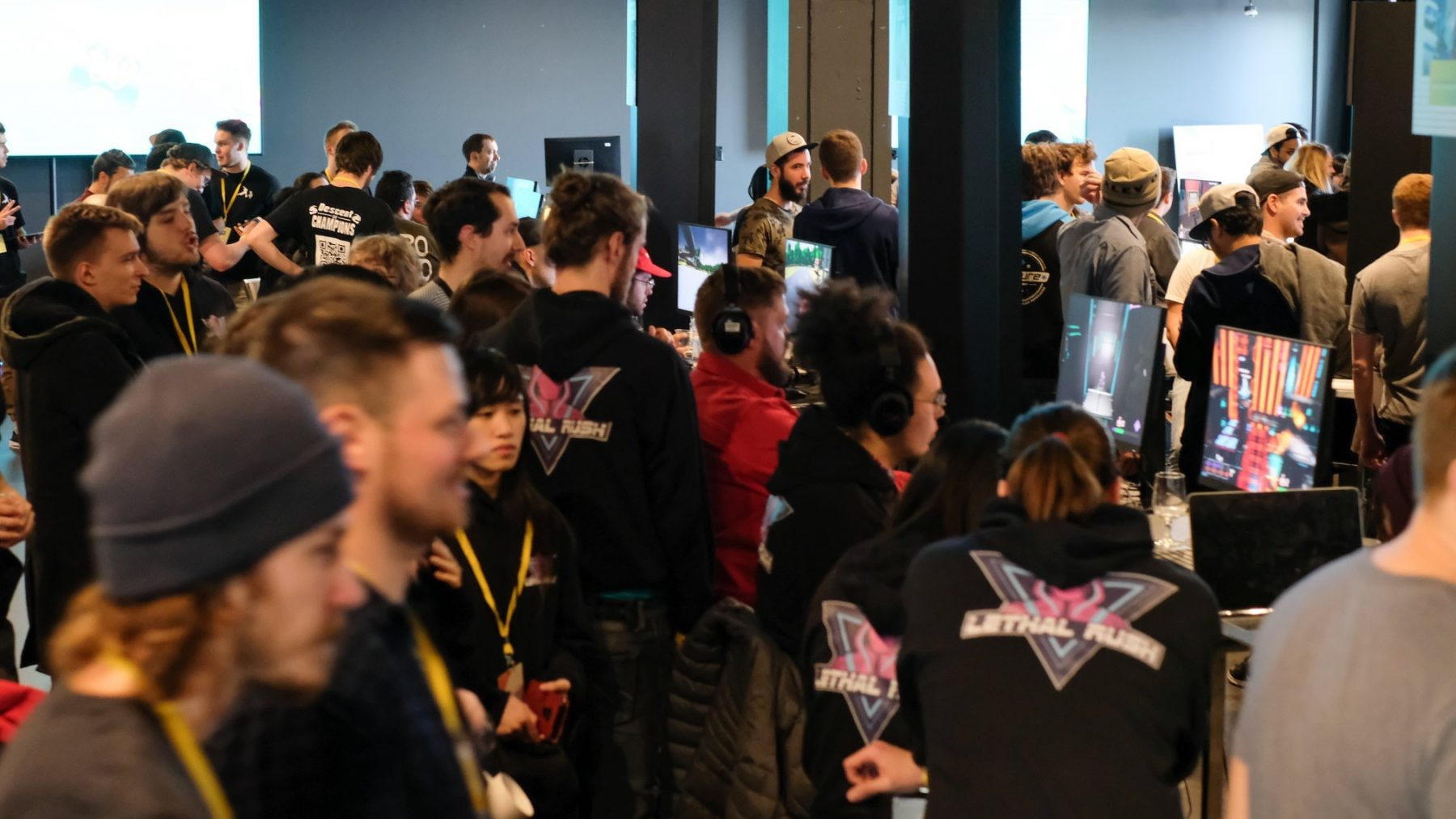 Room full of people at a game competition